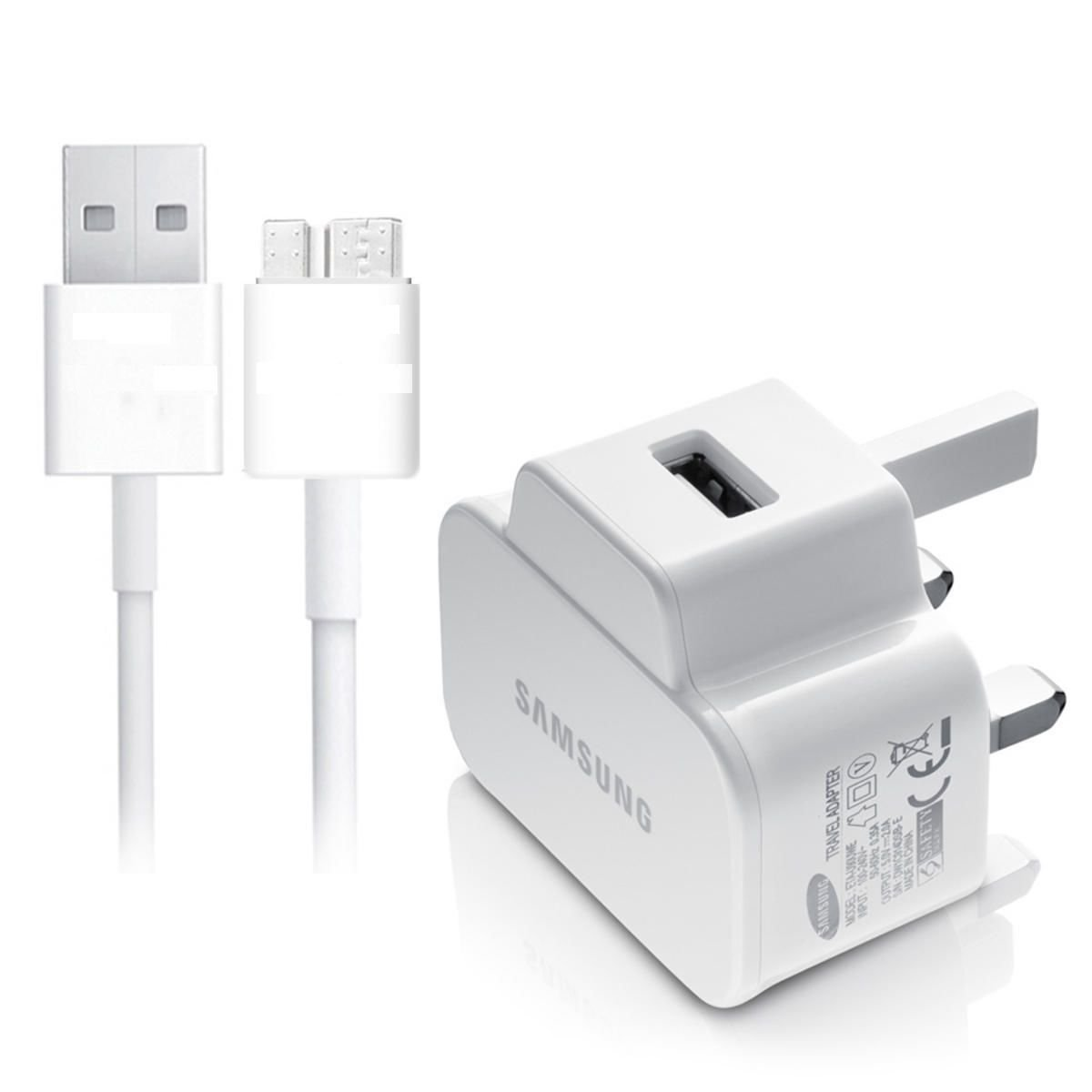REPLACEMENT SAMSUNG GALAXY NOTE 3, S5 WALL CHARGERS MAINS+ 3 METER CABLE UK