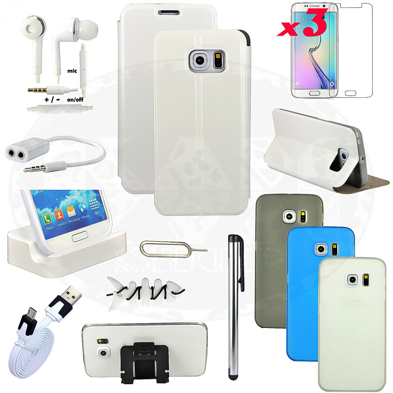 15 item Accessory Bundle Kit White Case Cover Charger For Samsung Galaxy S6 Edge