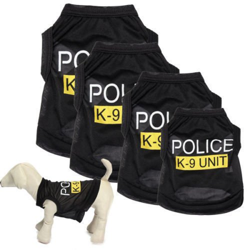 Dog Cat Vest Police Puppy T-Shirt Coat Pet Clothes Summer Apparel Costumes