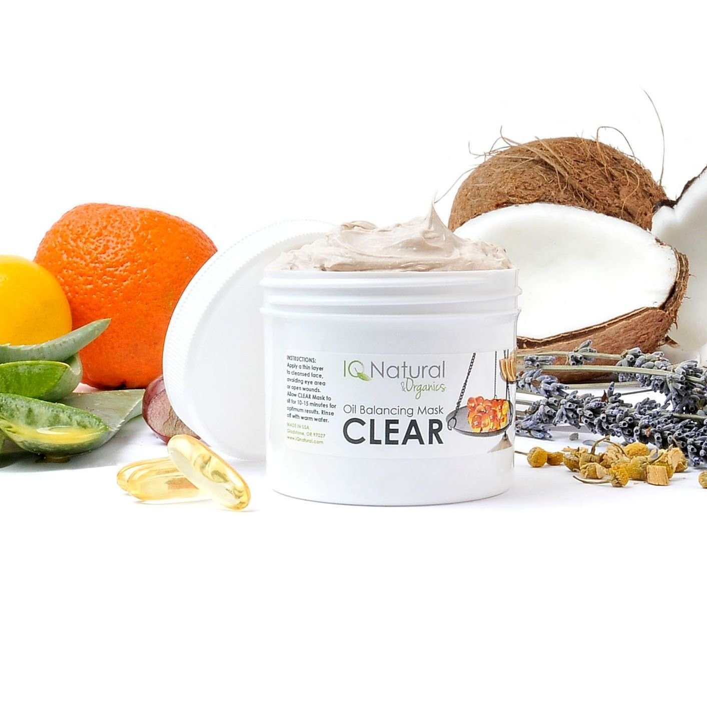 CLEAR Acne Blemish Clarifying Facial Mask with Salycilic Acid MSM Vitamin C(2oz)