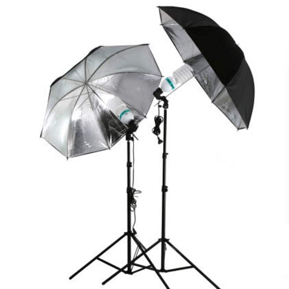 83cm Studio Flash Light Grained Black Silver Umbrella Reflective Reflector