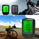 Bicycle Wired LCD PC Odometer Speedometer Waterproof + Green Backlight