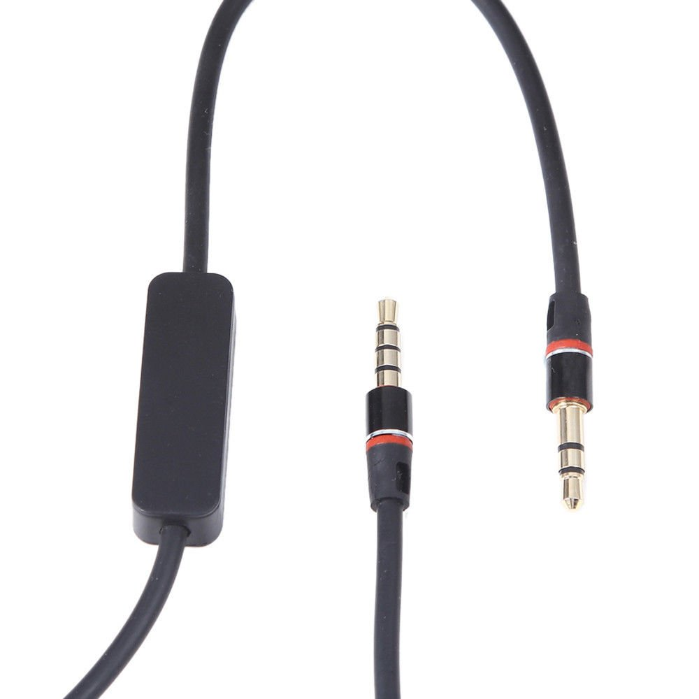 """BLK 3.5mm 1/8"""" Audio Cable Lead Cord with MIC For Monster Over-the-Ear Headphone    az4"""