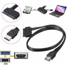 12V 5V Combo Power ESATA USB2.0 To 22Pin SATA Hard Disk HDD Drive Adapter Cable      VW3