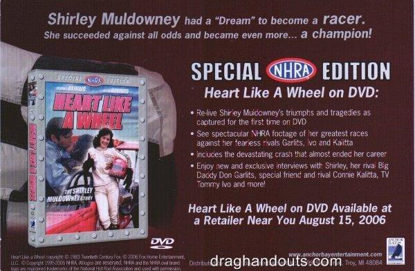 2006 NHRA TF Handout Shirley Muldowney Postcard wm