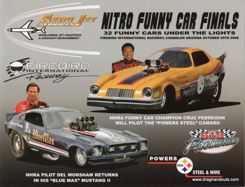 2008 NHRA FC Handout Cruz Pedregon Funny Car Finals