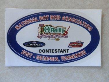 2007 NHRA Contestant Decal Memphis