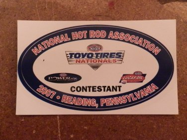 2007 NHRA Contestant Decal Reading