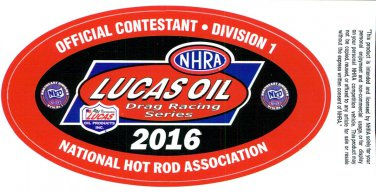 2016 NHRA Contestant Decal Division 1