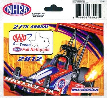 2012 NHRA Event Decal Dallas