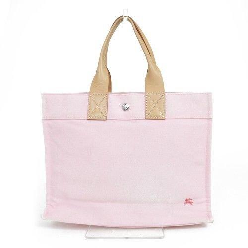 Authentic BURBERRY Pink Canvas x Leather Handbag