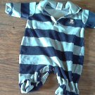Little Me baby boy's gray & blue striped jumpsuit 3 mos