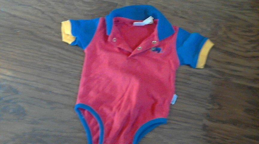 C,B, Judy baby boy's red bodysuit 6-9 mos