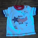 Carter's baby boy's USA white short sleeve shirt 12 mos