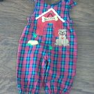 Adorable baby boy's red and blue plaids overall 12 mos