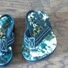 Baby boy's green camo flip flops size 3