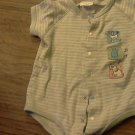 Carter's baby boy short sleeve green striped bodysuit 6-9 mos