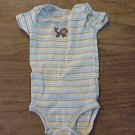 Carter's  baby boy's yellow,brown,blue striped short sleeve bodysuit 12 mos