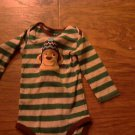 Carter's baby boy's green and grey striped long sleeve bodysuit 6-9 mos