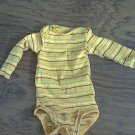 Carter's baby boy's yellow,green,black,white striped long sleeve bodysuit 6 mos