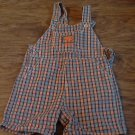 Oshkosh baby boy's blue and orange striped short overall 6-9 mos