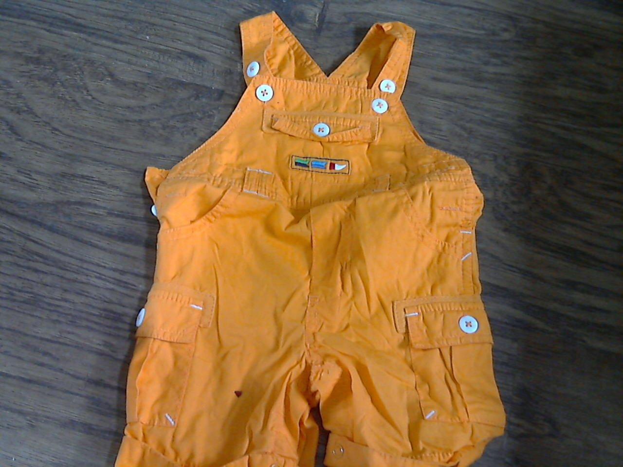 baby boy or girl orange short overall 3-6 mos