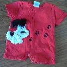 Baby boy or girl red dog bodysuit 6 mos