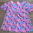 Small Girl's purple,green,blue polka dots short sleeve shirt