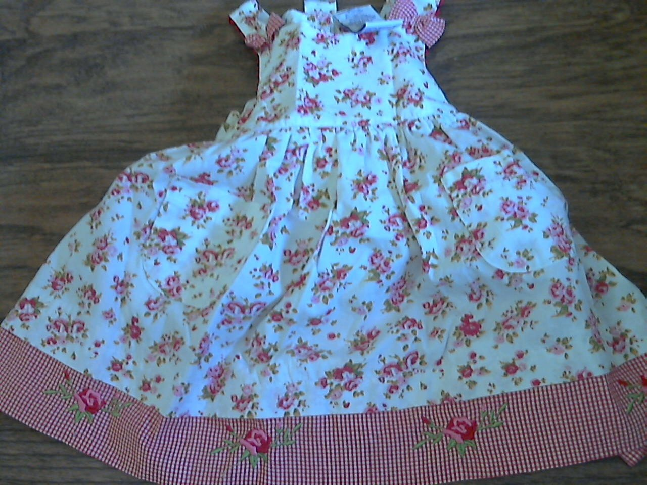 Toddler girl's red and white floral tank dress 2T