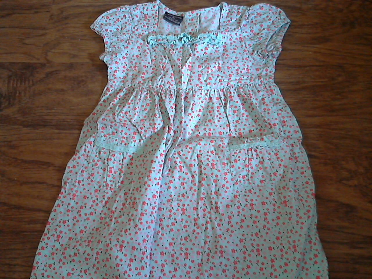 Faded Glory toddler girl's blue floral short sleeve dress 4T