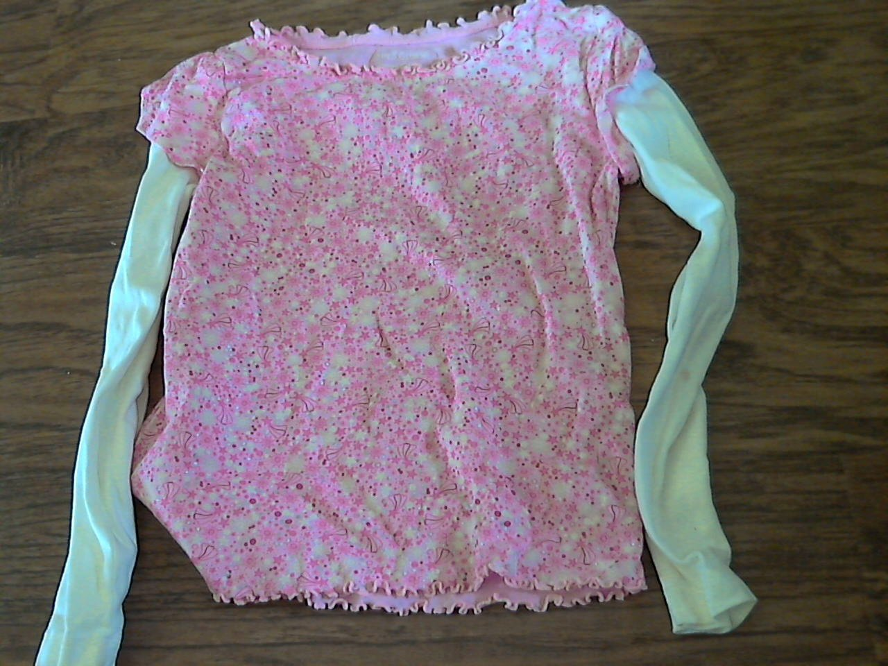 Faded Glory girl's pink and white long sleeve shirt pant set size 8