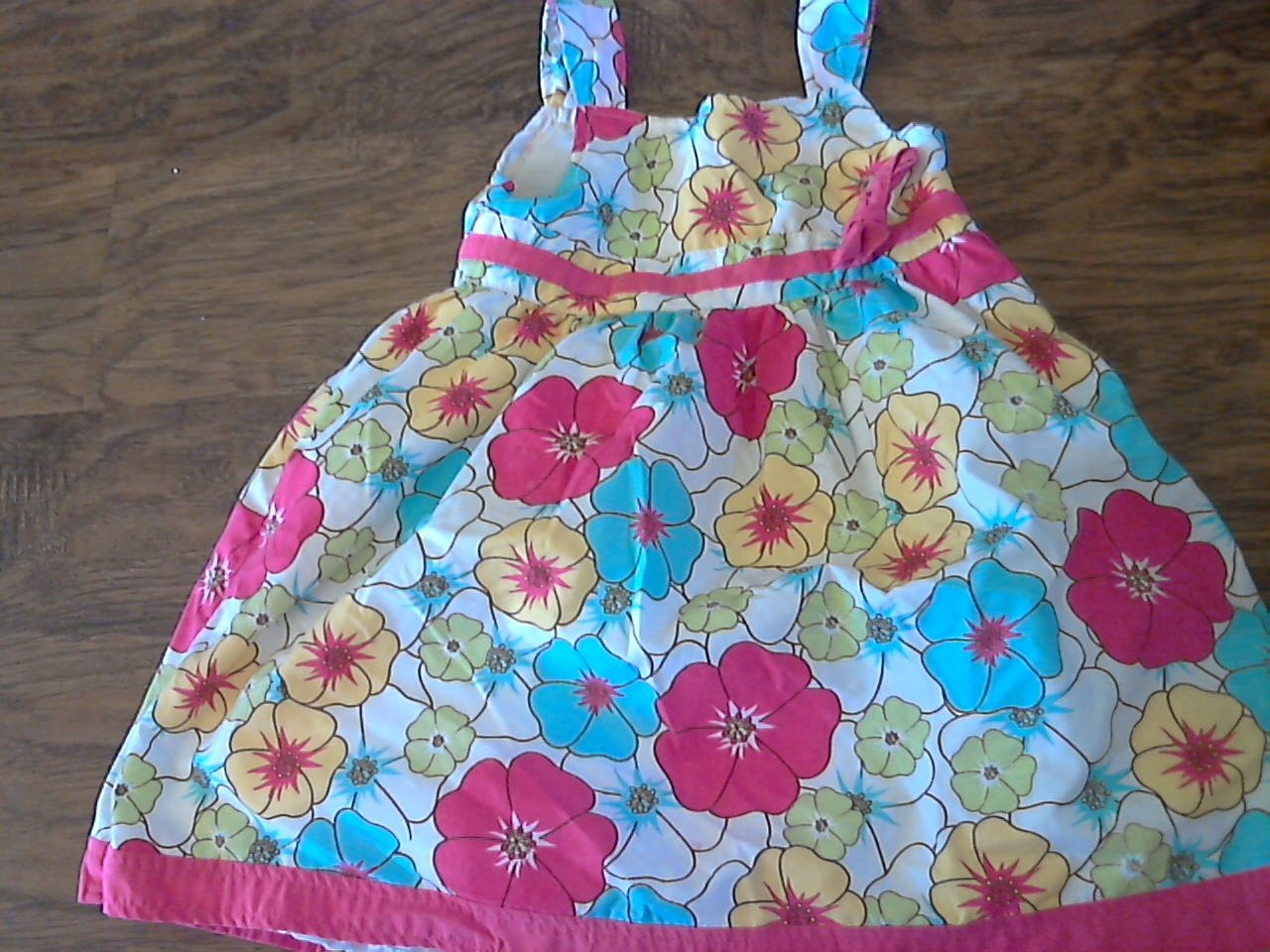 Sophie Fae girl's red, blue, yellow floral prints dress 3T