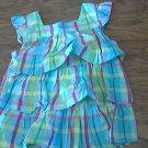 Osh Kosh girl's blue,pruple,yellow plaids short sleeve ruffle shirt 3T