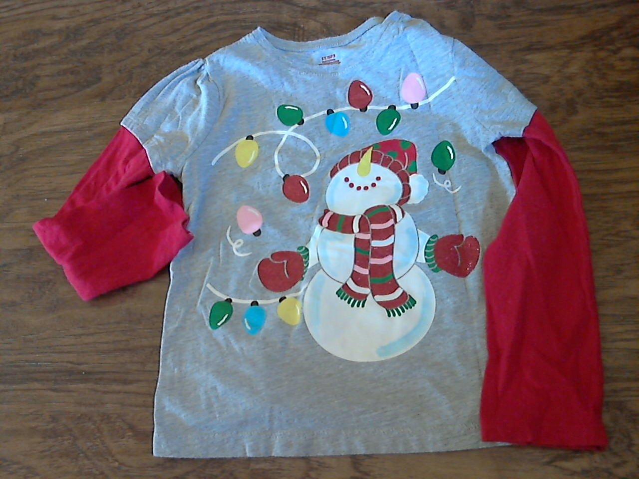 Toddler girl's gray snowman shirt  5T