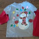 Toddler girl's gray snowman shirt  5T