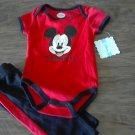 New Disney baby boy's Mickey Mouse bodysuit pant set 3-6 mos
