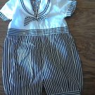 Carriage Botiques baby boy's navy and white solider cute outfit 12 mos