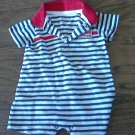 Carter's baby boy's white and navy bodysuit 6 mos