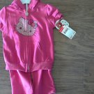 New Hello Kitty girl's pink fush purp french terry hoodie pant set 4T