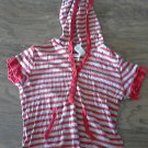 Junior girl's red and gray stripe short sleeve hoodie shirt size 11-13