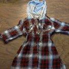 Girl's red tartan hoodie 1/2 sleeve shirt size 8