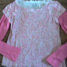Faded Glory girl's pink stars print long sleeve shirt size 8