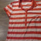 Faded Glory junior girls orange stripe short sleeve top size L (12/14)