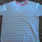 Woman's pink and white striped short sleeve top size Large (14-16)