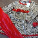 Girl's cotton leopard tunic and red pant set size 9/10