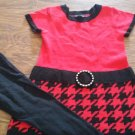 George toddler girl's red and black short sleeve shirt pant set size 4t-5t