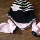Toddler girl's black and pink hat and mitten set size one size