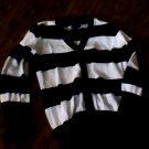 Faded Glory girls black and white striped long seleeve shirt xs (4t-5t)