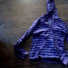 Faded Glory girls purple and black striped long sleeve hooded shirt size 10-12