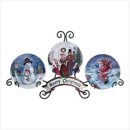 Holiday Plate Display with Scenes of  Christmas Carolers,Santa and Snowman Printed on them
